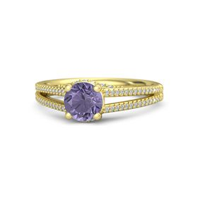 Round Iolite 14K Yellow Gold Ring with Diamond