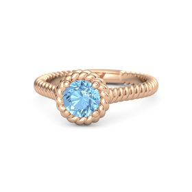 Round Blue Topaz 14K Rose Gold Ring
