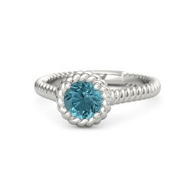 Round London Blue Topaz 14K White Gold Ring