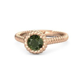 Round Green Tourmaline 18K Rose Gold Ring