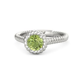 Round Peridot 18K White Gold Ring