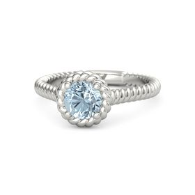 Round Aquamarine 18K White Gold Ring