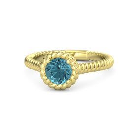 Round London Blue Topaz 18K Yellow Gold Ring