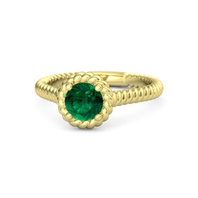 Round Emerald 18K Yellow Gold Ring