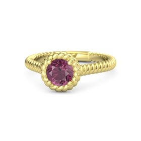 Round Rhodolite Garnet 18K Yellow Gold Ring