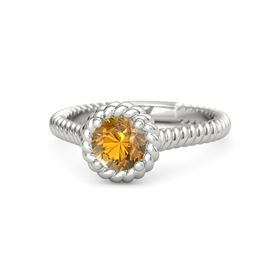 Round Citrine Platinum Ring