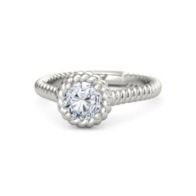 Round Moissanite Platinum Ring