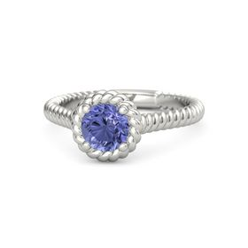Round Tanzanite Platinum Ring