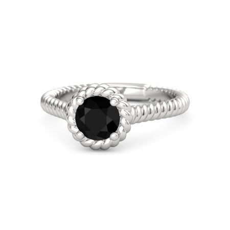 silver twisted ring silver ring onix Black onix ring Silver Black ring silver ring black stone