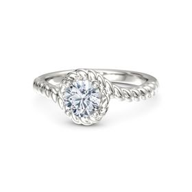 Round Diamond 18K White Gold Ring