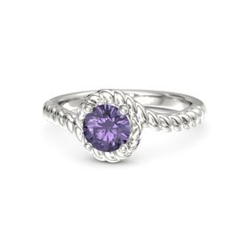 Round Iolite 18K White Gold Ring