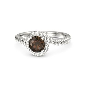 Round Smoky Quartz 18K White Gold Ring