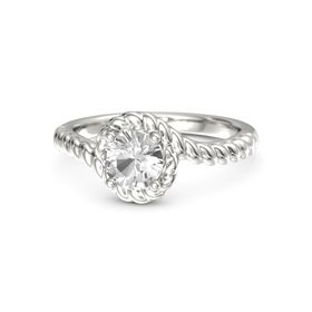 Round Rock Crystal Palladium Ring