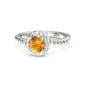 Round Citrine Palladium Ring