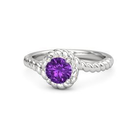 Round Amethyst Sterling Silver Ring