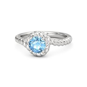 Round Blue Topaz Sterling Silver Ring