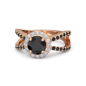 Round Black Diamond 14K Rose Gold Ring with Diamond & Black Diamond