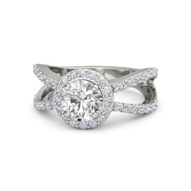 Round White Sapphire 14K White Gold Ring with Diamond