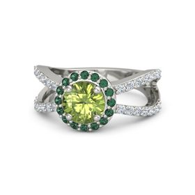 Round Peridot 14K White Gold Ring with Alexandrite and Diamond
