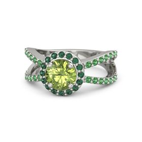Round Peridot 14K White Gold Ring with Alexandrite and Emerald