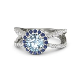 Round Aquamarine 14K White Gold Ring with Blue Sapphire and White Sapphire