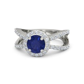 Round Sapphire 14K White Gold Ring with Diamond