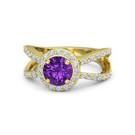 Round Amethyst 18K Yellow Gold Ring with Diamond
