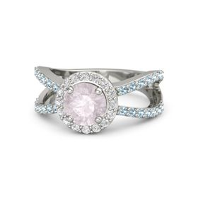 Round Rose Quartz Platinum Ring with White Sapphire and Aquamarine