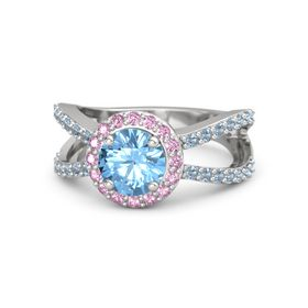 Round Blue Topaz Sterling Silver Ring with Pink Sapphire and Blue Topaz