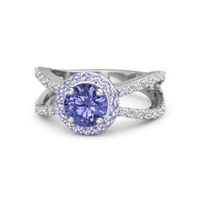 Round Tanzanite Sterling Silver Ring with Tanzanite and Diamond