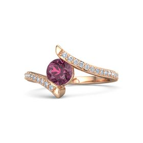 Round Rhodolite Garnet 14K Rose Gold Ring with Diamond