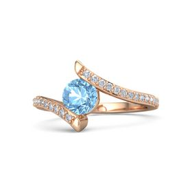Round Blue Topaz 18K Rose Gold Ring with Diamond