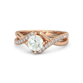 Round Green Amethyst 14K Rose Gold Ring with Diamond