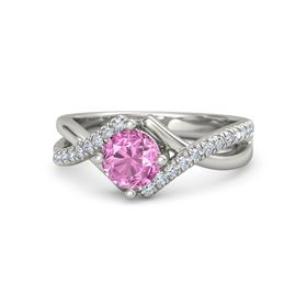 Round Pink Sapphire 14K White Gold Ring with Diamond