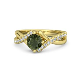 Round Green Tourmaline 14K Yellow Gold Ring with Diamond