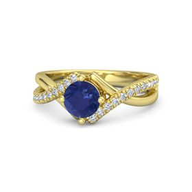 Round Blue Sapphire 14K Yellow Gold Ring with Diamond