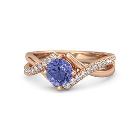 Round Tanzanite 18K Rose Gold Ring with Diamond
