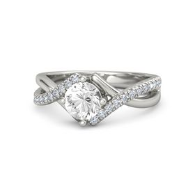 Round Rock Crystal 18K White Gold Ring with Diamond