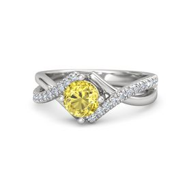 Round Yellow Sapphire Sterling Silver Ring with Diamond