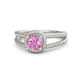 Round Pink Sapphire 14K White Gold Ring