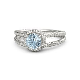 Round Aquamarine 14K White Gold Ring