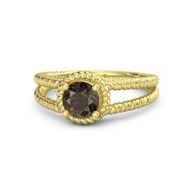 Round Smoky Quartz 14K Yellow Gold Ring