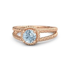 Round Aquamarine 18K Rose Gold Ring