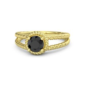 Round Black Diamond 18K Yellow Gold Ring