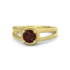 Round Red Garnet 18K Yellow Gold Ring