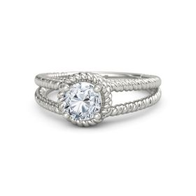Round Diamond Palladium Ring