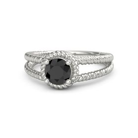 Round Black Diamond Platinum Ring