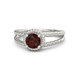 Round Red Garnet Platinum Ring