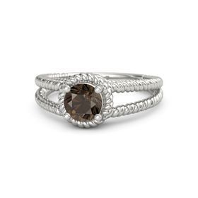 Round Smoky Quartz Platinum Ring