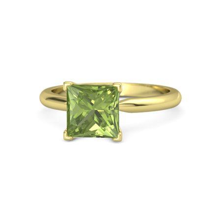 princess peridot 18k yellow gold ring princess cut ara